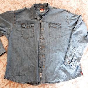 Wrangler sz 3XL Indigo pearl snap Jean denim shirt